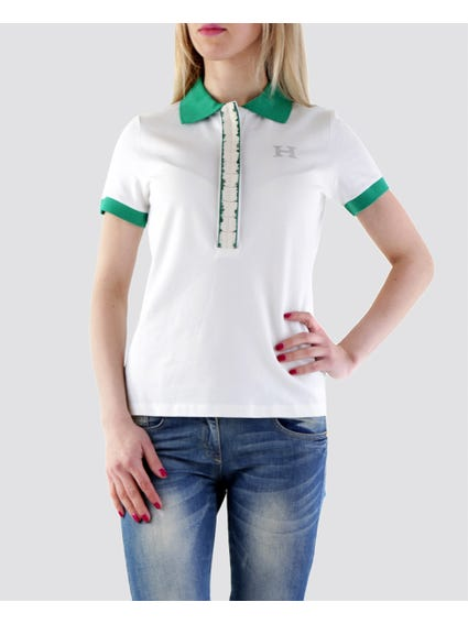 White Cover-up Buttons Polo Shirt