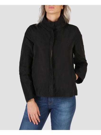 Black Button Zip Bomber Jacket