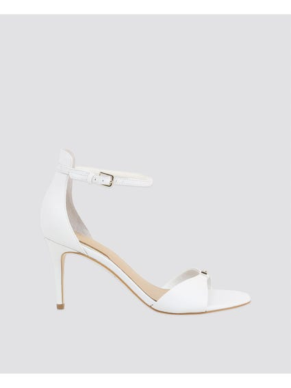 White Ankle Strap Mid Sandals