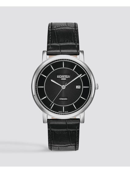 Black Classic Line Leather Watch