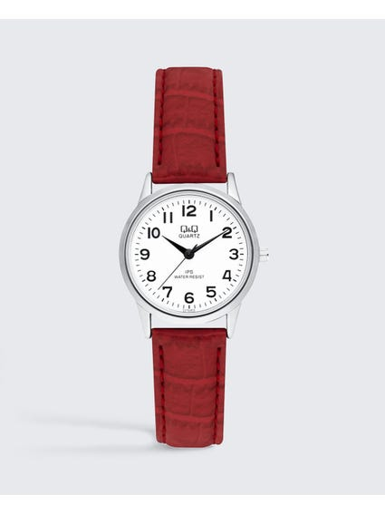 Red Leather Analog Watch