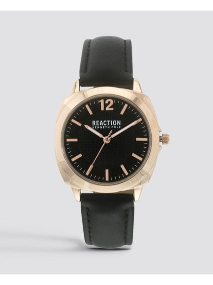 Black Dial Leather Watch