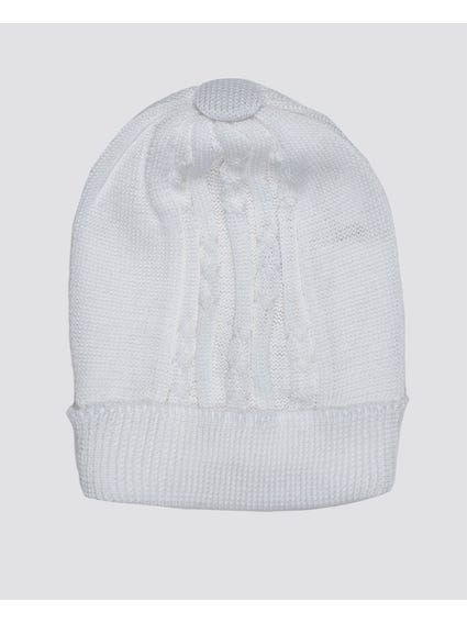 Panna White Cotton Beanie