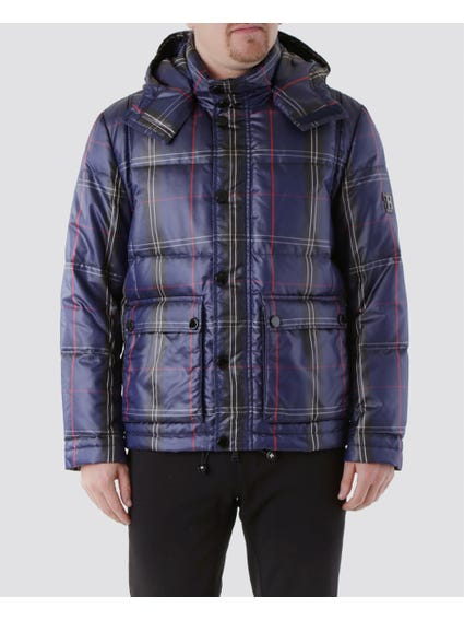 Checkered Blue Padded Jacket