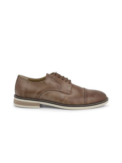 Brown Round Toe Leather Lace Up Shoes