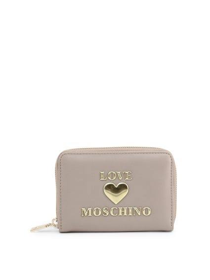 Brown Embossed Love Zip Wallet