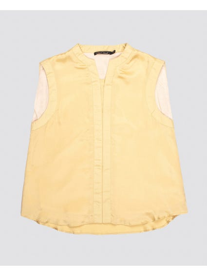 Mustard Plain Sleeveless Kids Blouse