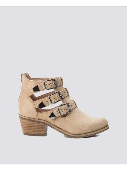 Beige Buckle Ankle Boots