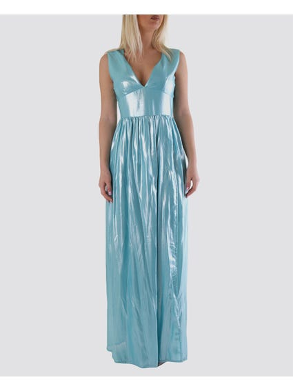 Light Blue Pleated Sleeveless Maxi Dress