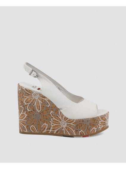 White Goldy Embroidered Cork Heel Wedge Sandals