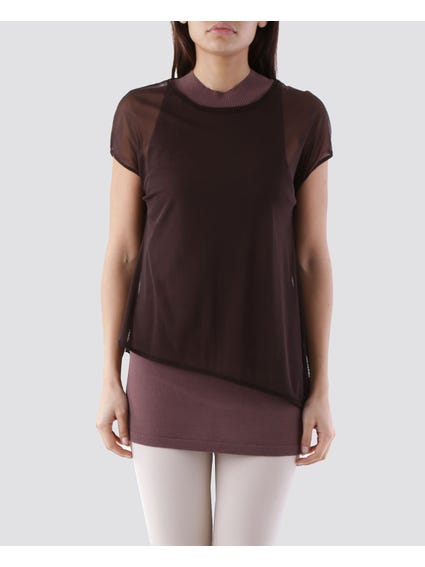 Brown Basic Curve Hem T - Shirt