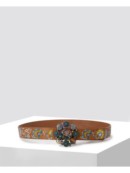 Brown Embroidered Flower Buckle Belt