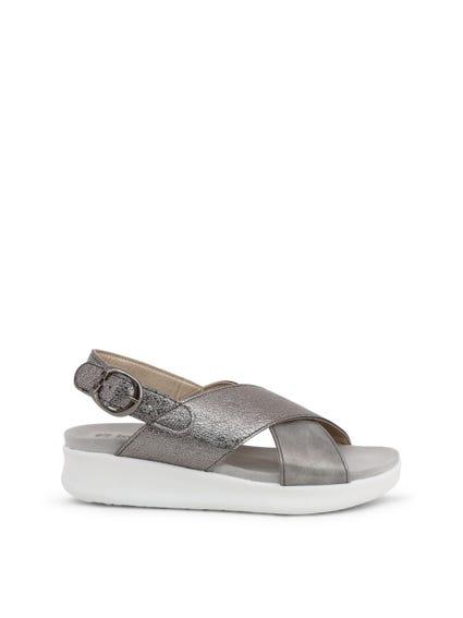 Grey Cross Strap Buckle Pin Sandals