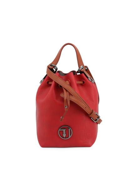 Red Menta Drawstring Fasten Bucket Bag