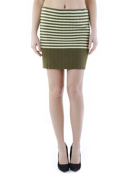 Stripes Pattern Mini Skirt