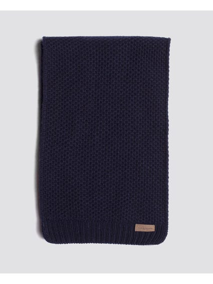 Navy Cozy Knitted Tube Scarf