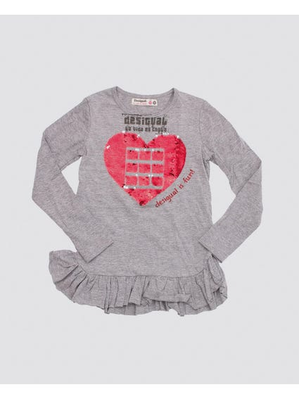 Heart Sequins Long Sleeves Kids Top