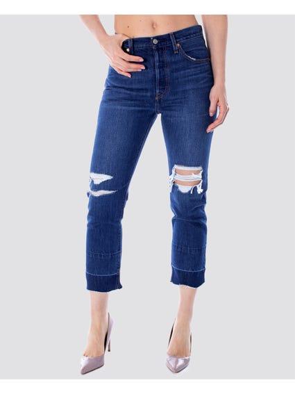 Blue Crop Bottom Line Jeans