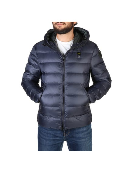 Blue Quilted Zipper Hooded Jacket