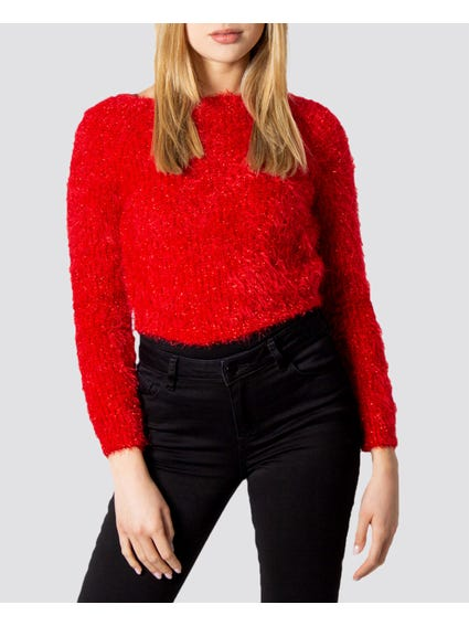 Red Pattern Knitted Sweater