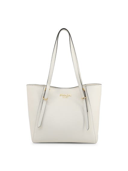 White Grain Leather Shoulder Bag