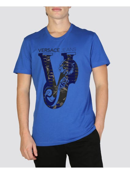 Blue Graphic Logo Print T-shirt