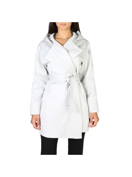 Collar Long Sleeve Button Belt Coat