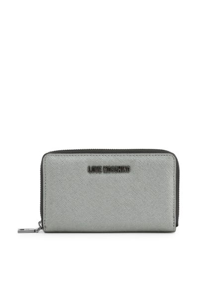 Two Tone Zipper Logo Wallet