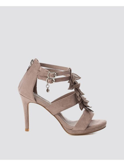 Taupe Ankle Strap High Heel Sandals