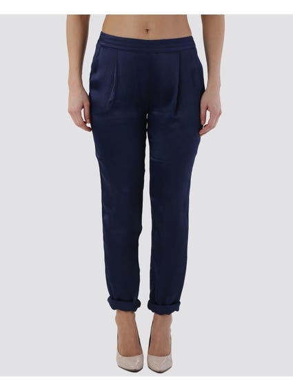 Blue Pleated Front Pants