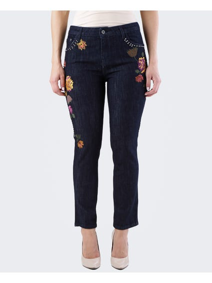 Embroidered Floral Straight Jeans