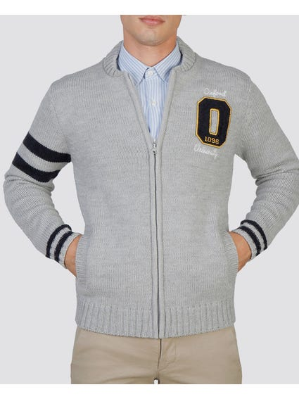 Grey Oxford Zipped Sweater