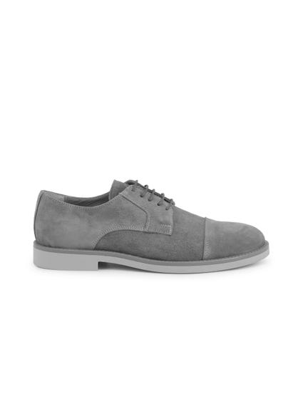 Grey Contrast Sole Suede Lace Up Shoes