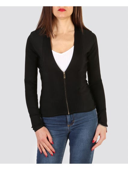 Black Narrow Zipped Blazer