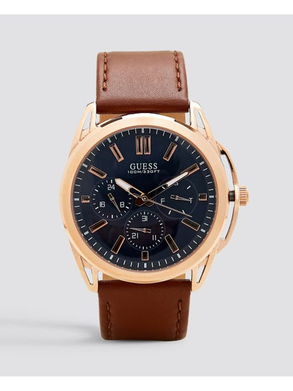Vertex Quartz Blue Dial Brown Leather Watch