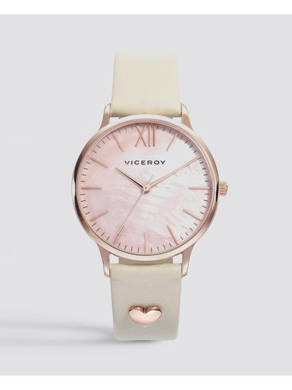 Kiss Pink Dial Leather Watch