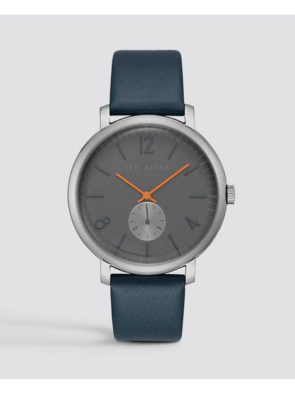 Grey Dial Leather Quartz  Watch