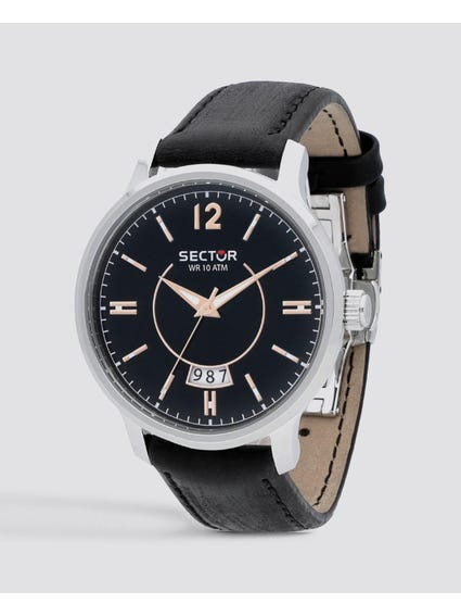 Black Dial leather Strap Analog Watch