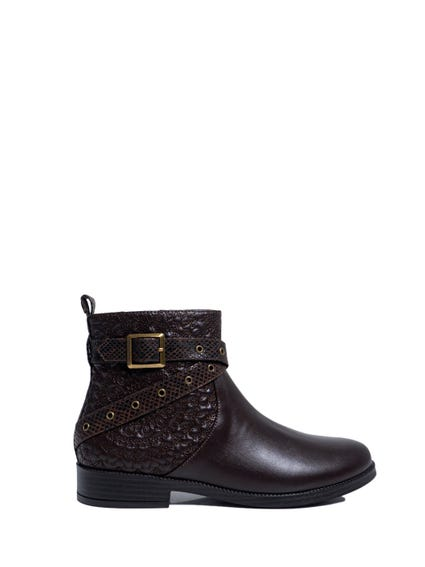 Brown Pattern Buckle Ankle Boots
