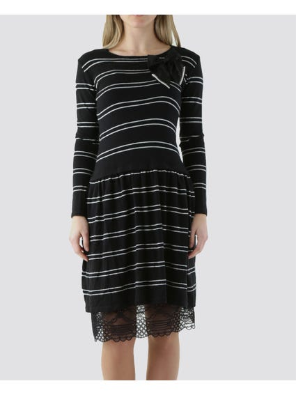 Monochrome Long Sleeves Dress