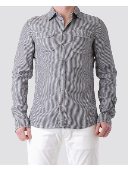 Collar Pattern Long Sleeve Shirt