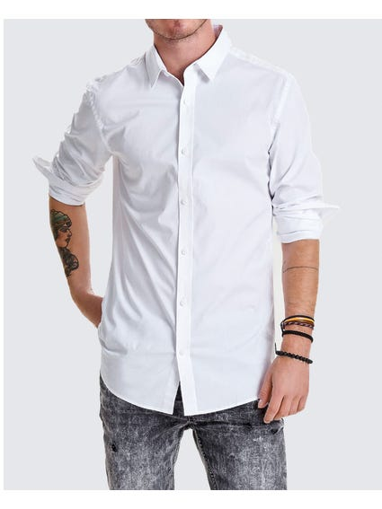 White Alfredo Folded Long Sleeves Shirt