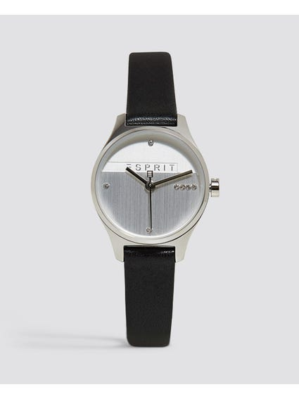 Black Zirconia Leather Analog Watch