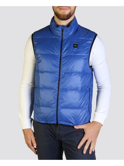 Blue Padded Sleeveless Jacket