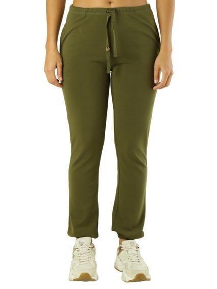 Green Elastic Waist Plain Trouser