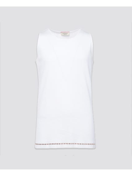 White Beads Sleeveless Kids Top7