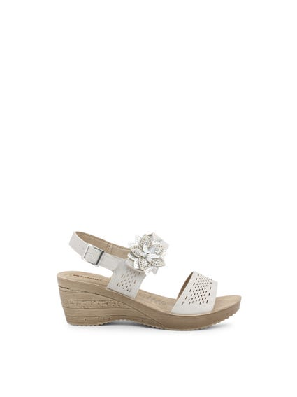 Grey Velcro Strap Floral Wedge Sandals