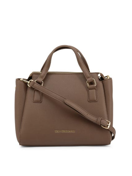 Saddle Brown Leather Side pockets Handbag