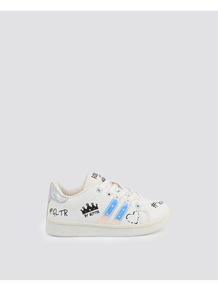 White Printed Kid Sneakers