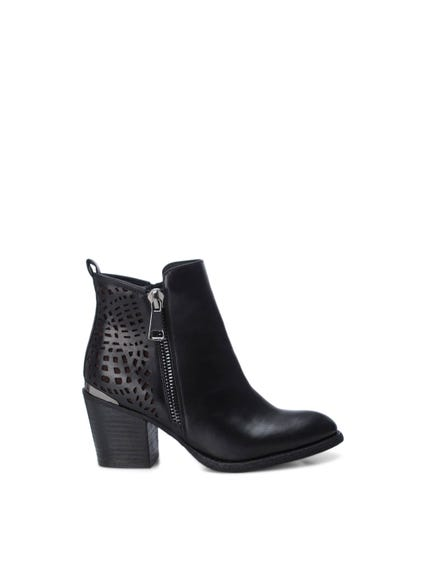 Zipper Laser Cut Ankle Boots